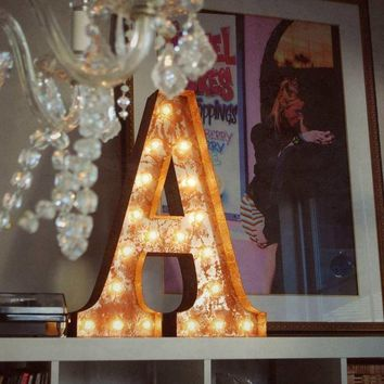 "24"" Letter A Lighted Vintage Marquee Letters (Rustic)"