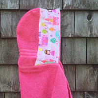 Girls Personalized Hooded Towel Pink Princess Fabric Bath Pool Beach Towel Kids Toddler Christmas Birthday Gift Idea