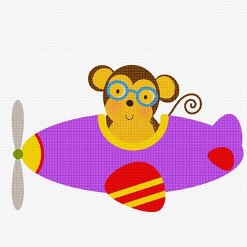 Contemporary Monkey Flying an Airplane Hand Embroidery Pattern