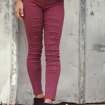 Manhattan Skyline Wine High Waisted Distressed Denim Legging