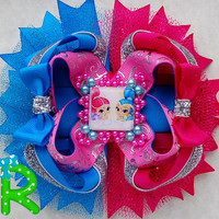 Shimmer and Shine hair bow , Genies boutique bow ,layered bow , stacked bow