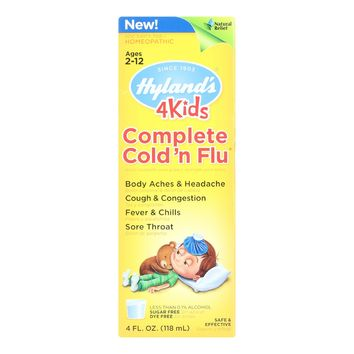 Hylands Homeopathic Cold N Flu - 4 Kids - Complete - Liquid Formula - 4 Oz