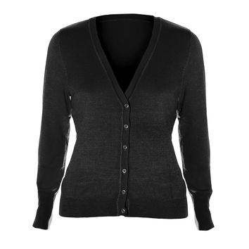Classic V-Neck Cardigan, Heather Gray