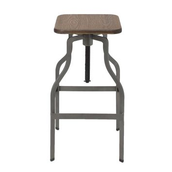 Gunmetal / Antique Gray Adjustable Logan Metal Bar Stool With Wood Seat