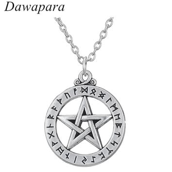Dawapara Pentacle Pentagram Norse Pagan Rune Alphabet Viking Slavic Amulet and Talisman Supernatural Pendant Necklace for Men