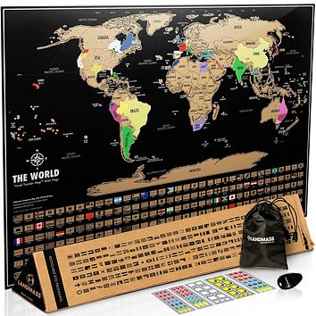 Scratch Off Map Of The World - Black & Gold World Travel Tracker Map ® - 17( h) x 24 (w) inches - Scratch Off World Map Poster - Perfect Gift for Travelers