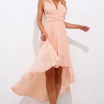 Pink V-neck High-low Prom Dress