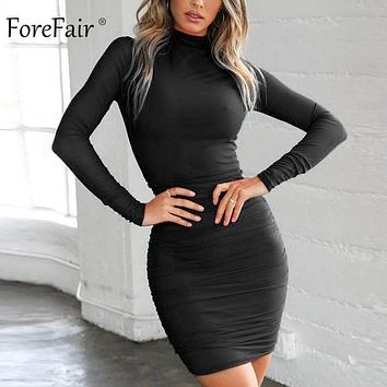Forefair Winter Red Black Sexy Bodycon Dress Mini Turtleneck Lon efc11142e