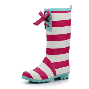 Rubber Shoes Stripes Korean Boots [4915340996]