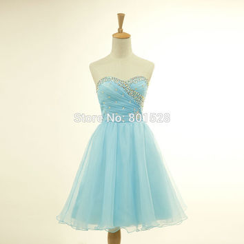 New Arrival Summer Style Dress Sweetheart Organza Light Blue Simple Cheap Homecoming Dresses 2015 Short Prom Dresses Party Gown