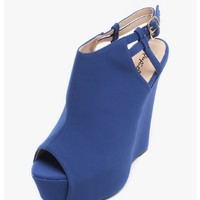 C. Blue The Sky is The Limit Peep Toe Wedges | $12.50 | Cheap Trendy Wedges Chic Discount Fashion f