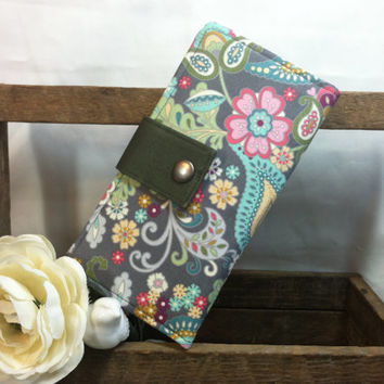 Floral Paisley folded wallet-coin pouch, card slots, bill slots women's accessory