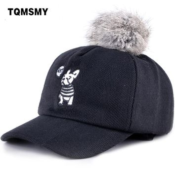 Trendy Winter Jacket TQMSMY winter children embroidery cute dog baseball hats cap boy girl real rabbit pom pom kids snapback hip hop cap hat TMC71 AT_92_12