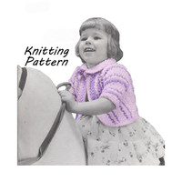 Toddler Striped Bolero Sweater Pattern Knitting Pattern Sz 1, 2, 3, 4 || Vintage 1950's || Reproduction PDF Instant Download 5939-68