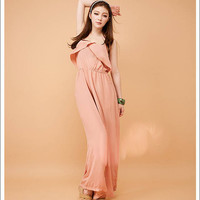 Stylish Flouncing Layer Spaghetti Straps Jumpsuit Long Wide Pants 2 Colors