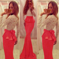 Red Lace Top Ruffles Waist Maxi Dress