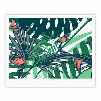 "bruxamagica ""Tropical Leaves Flamingo White"" White Green Animals Floral Digital Mixed Media Fine Art Gallery Print"