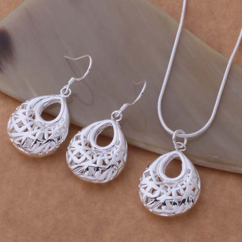 AS324 Hot 925 sterling  silver Jewelry Sets Earring & Necklace