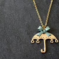 Umbrella & Olive Green Bow Pendant Gold Necklace, Kitsch, Whimsical, Gift for Her, Mothers Day Gift