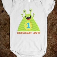 First birthday one-piece for baby boys with cute and funny cartoon monster