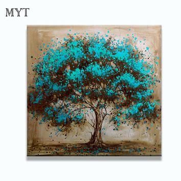 Hand Made Oil Painting On Canvas Tree Red Flower Oil Painting Abstract Modern Canvas Wall Art Living Room Decor Picture
