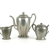 Vintage Pewter Coffee Set, Coffee Pot, Cream Pitcher, Sugar Bowl, Rogers 1881