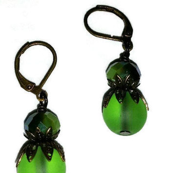 Green Glass,Brass caps and French Eurowire earrings, Lime green earrings,brass earrings