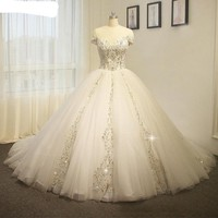 Beading Embroidery Train Wedding Dress