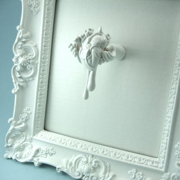 My heart Aches For You framed art hands holding a bleeding by snew