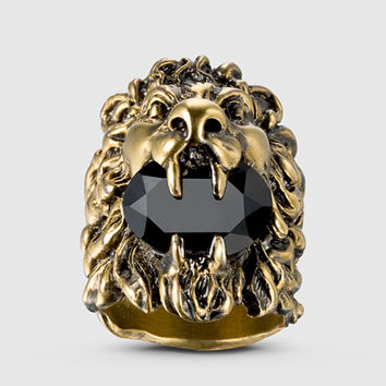 Gucci - lion head ring with Swarovski crystal 402763J1D508029