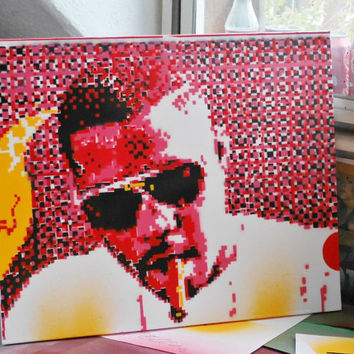 nas custom painting, in pixel dreams,hand cut stencil painting on canvas,stencil art,graffiti art,urban art,hip hop,rap,music,culture