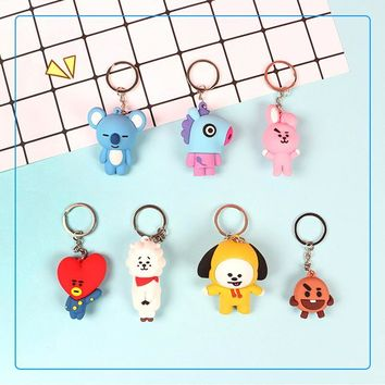 KPOP BTS Bangtan Boys Army Korean Star Cute Cartoon BT21 Keyring JIMIN V RAPMONSTER JIN JUNGKOOK SUGA J-HOPE    Boys Fashion AT_89_10