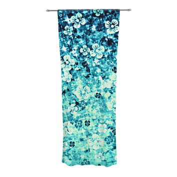 "Ebi Emporium ""Flower Power in Blue"" Teal Aqua Decorative Sheer Curtain"