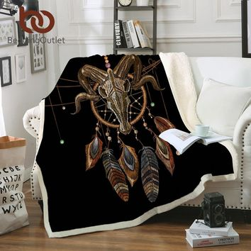 BeddingOutlet Indian Skull Plush Throw Blanket Dreamcatcher Exotic Home Textiles Sherpa Fleece Beds Blanket Tribal Bedding