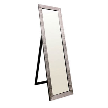 Full Length Leaning Freestanding Floor Mirror with Black Pearl Frame