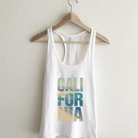 California Vintage Beach Typography Racerback Tank Top