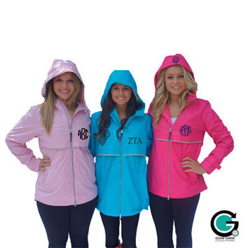 CUSTOM Monogram Women's New Englander Rain Jacket -- Stay dry and show off your initials!