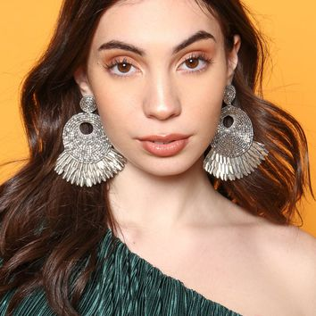 Too Fly Beaded Statement Earrings - Silver