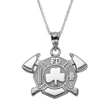 Insignia Collection Sterling Silver Maltese Cross Axes & Shamrock Pendant Necklace (Grey)