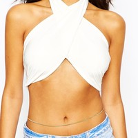 Boohoo Cross Wrap Front Crop Top