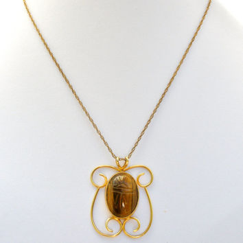 Tiger's Eye Pendant Necklace, Hand Carved, Scarab Beetle, 12K GF Gold Filled, Natural Brown Gemstone, Vintage Boho, Fashion Jewelry