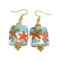 Starfish Lampwork Glass Dangle Earrings
