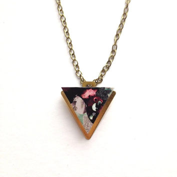 Patterned Mini Triangle Geometric Necklace -Purple Patterned Laser Cut Wood Pendant Geometric Jewellery Triangle Jewellery