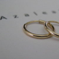 14k Gold Hoop Earrings - Dainty Mini Hoop Earrings - Delicate Skinny Gold Hoops - Dainty Hoops - Timeless Earrings - 14k Solid Gold Hoops