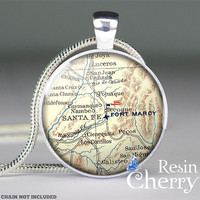 Santa Fe map pendant charm, map resin pendants, photo pendants- M1041CP