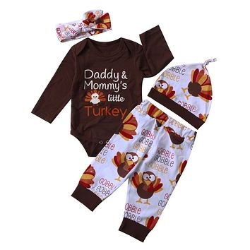 Thanksgiving Clothes Sets Bodysuits Long Sleeve Pants Hat Headband Clothing Set Newborn Baby Toddler Boys Girls Outfits