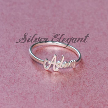 Stacking Name Ring - Custom Name Ring - Gift For Her - Personal Presents - Gift Ideas - Designed For Every Day -  Sterling Silver