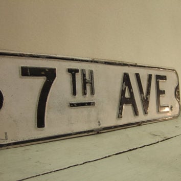 Vintage 7th Ave Metal Sign - Avenue Street Sign