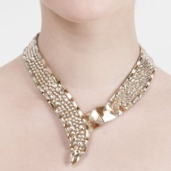 Crystal Collar Baguette Necklace - Gold