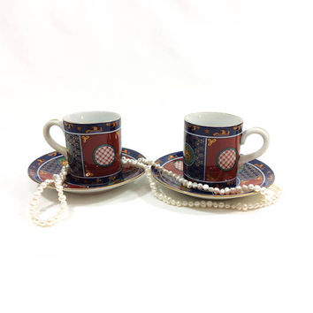 Imari Demitasse Cup & Saucer, Japanese Demitasse, Crystanthemum Flowers, Porcelain Tea Cup, Deadstock Cup and Saucer, Vintage
